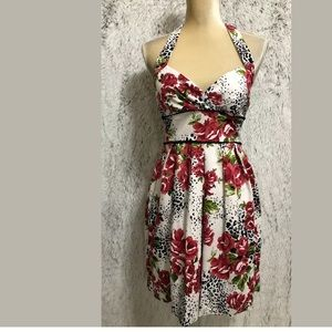 RUBY ROX DRESS FLORAL 9 HALTER PLEATED KEE LENGHT